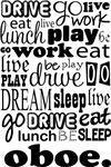 OBOE Eat Sleep Work Play Music T-shirts