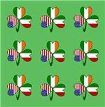 Nine Italian Shamrocks on Green