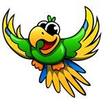 Cartoon Green Macaw