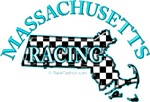Massachusetts Checkered Flag Map BLUE