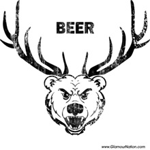Bear with deer horns - beer!
