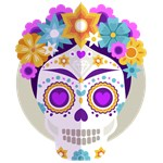 Sugar Skull Day of the Dead Floral