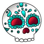 Cute Aqua Floral Sugar Skull