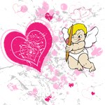 Cupid pink and white hearts