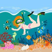 Girl Swimming in Tropical Sea