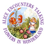 Alice Encounters Talking Flowers