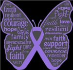 Hodgkins Disease Butterfly Collage of Words Shirts