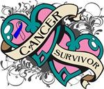 Thyroid Cancer Survivor Double Heart Shirt