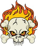 Flaming Skull and Crossbones
