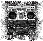 Old School Boombox Art