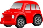 Red Retro / Vintage Car Cartoon
