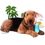 Airedale at the Beach by Vampire Dog