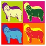 Bearded Collie Silhouette Pop Art