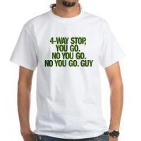 4-WAY STOP, YOU GO. NO YOU GO. NO YOU GO. GUY