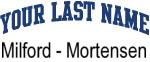 Blue Surname Design Milford - Mortensen