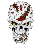 Stitched up skull
