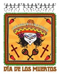 Dia de los Muertos-Day of the dead-girl in sombrar