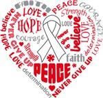 Bone Cancer Heart Words Shirts