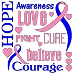 Male Breast Cancer Hope Words Shirts
