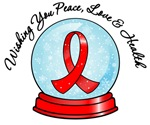 AIDS Christmas Snowglobe Ribbon Shirts & Gifts