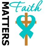 Faith Matters Cross Ribbon Ovarian Cancer Gifts