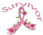 Breast Cancer Floral Ribbon Survivor Shirts