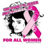 Support Cancer Awareness For All Women t-shirts