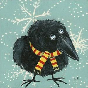 Cozy Crow in Winter Snow