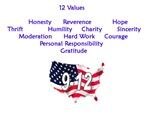 12 Values (9 Principles on reverse if avail)