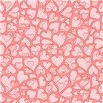 Hearts allover-peach