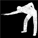 Distressed Pool Player Silhouette
