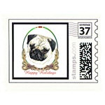 Pug Dog Holiday Stamps Cards Prints Posters