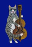 Cat and Cello- Blue