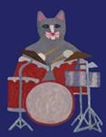 Cat Drummer on Blue