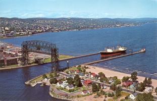 Aerial Left Bridge in Duluth, 1950's