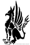 Seated gryphon silhouette