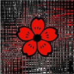 Red & Black Flower Abstract