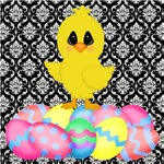 Easter Chick on Damask