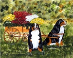 Bernese Mountain Dog Flower Cart