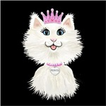 White Caroon Cat Princess<br>On a black square