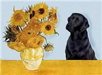 SUNFLOWERS<br>& Black Labrador Retriever