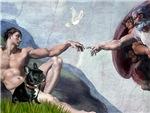 CREATION OF MAN<br>& French Bulldog (BW)