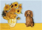 SUNFLOWERS<br>& Sable long haired Dachshund