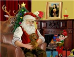 SANTA AT HOME<br>& His Brown Dachshund