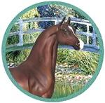 Brown Arabian Horse<br>In Lily Pond Bridge