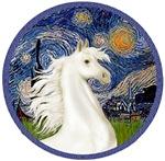 White Arabian Horse<br> In Starry Night