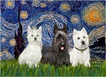 Starry Night with a<br>Two Westies & a Scottie