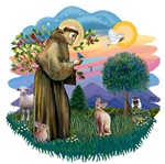 St. Francis (ff) with<br>a Sphynx Cat (fawn)
