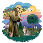 St. Francis (ff) with an<br>Abyssinian Cat (blue)