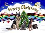 CHRISTMAS MUSIC #1<BR>With 2 German Shepherds & 2